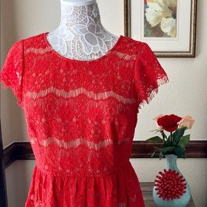 Maeve | Anthropologie Red Lace Peplum Top Katrine